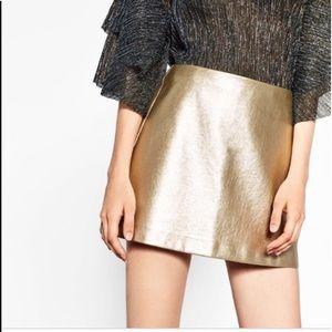 Zara Trafaluc Collection Gold Metallic Skirt M